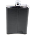 Shiny, black, leather-bound hip flask.