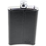 Shiny, black, leather-bound hip flask.